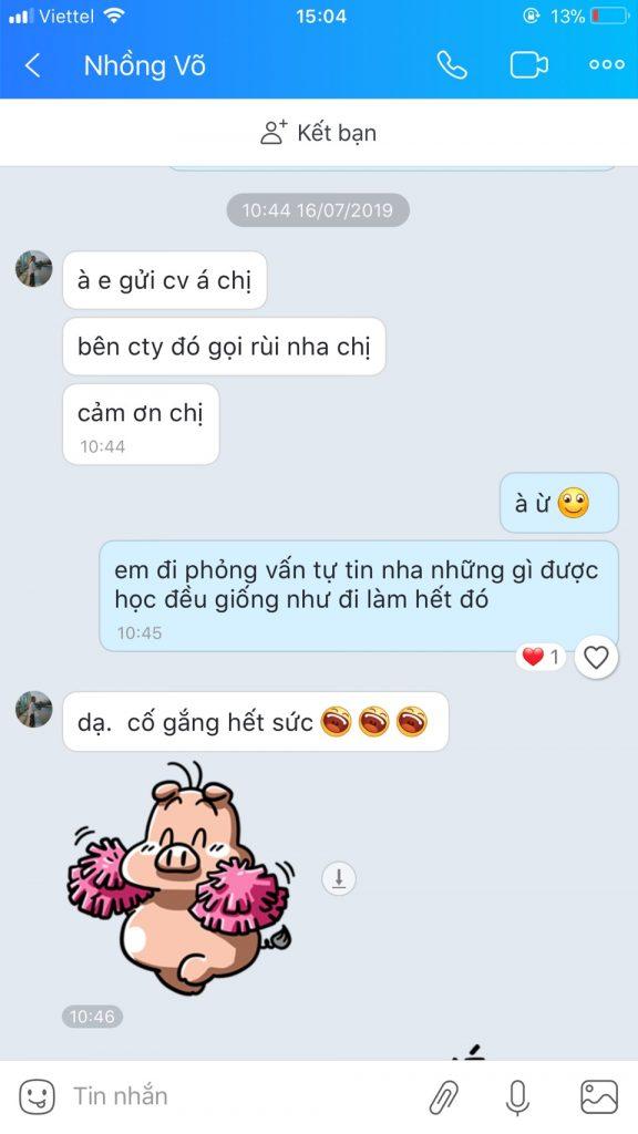 Phản hồi học viên tại VinaTrain chi nhánh Hồ Chí Minh trúng tuyển vị trí nhân viên chứng từ xuất nhập khẩu