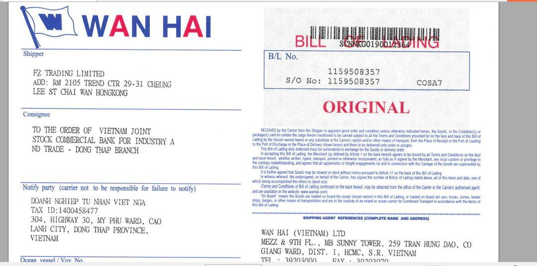 Thông tin shipper và consignee phải thể hiện bắt buộc trên vận đơn
