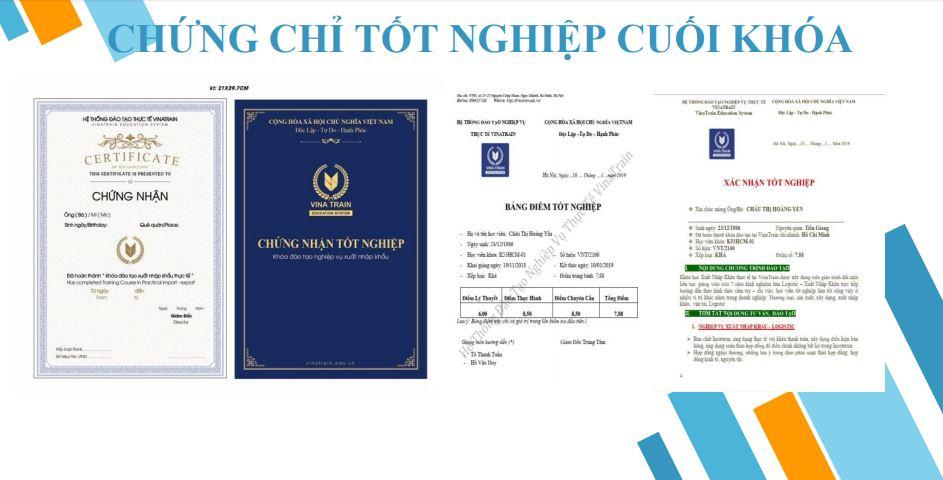 Hình ảnh chứng chỉ tốt nghiệp tại VinaTrain