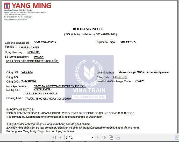 Mâu booking note từ hãng tàu Yanming