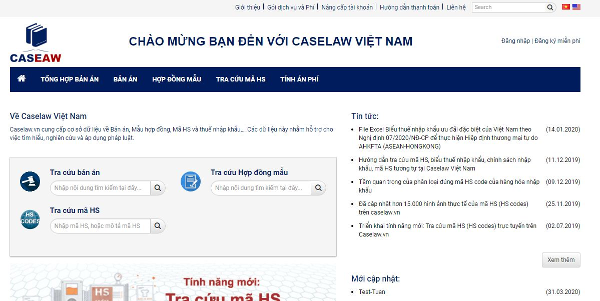 giao diện của website caselaw
