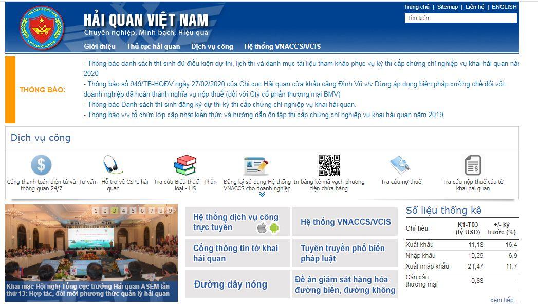 giao diện trang web hải quan Việt Nam