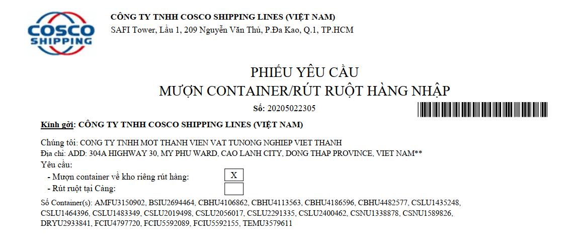 Mãu giấy cược vỏ contaner tại hãng tàu Cosco