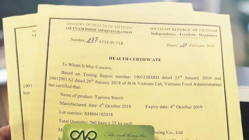 Giấy chứng nhận y tế HC là một chứng từ bắt buộc có với mặt hàng thực phẩm khi nhập khẩu