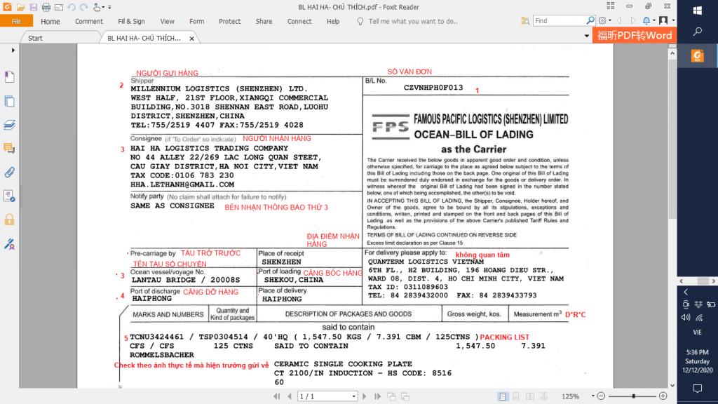Vận đơn là chứng từ quan trọng khi khai báo hải quan điện tử
