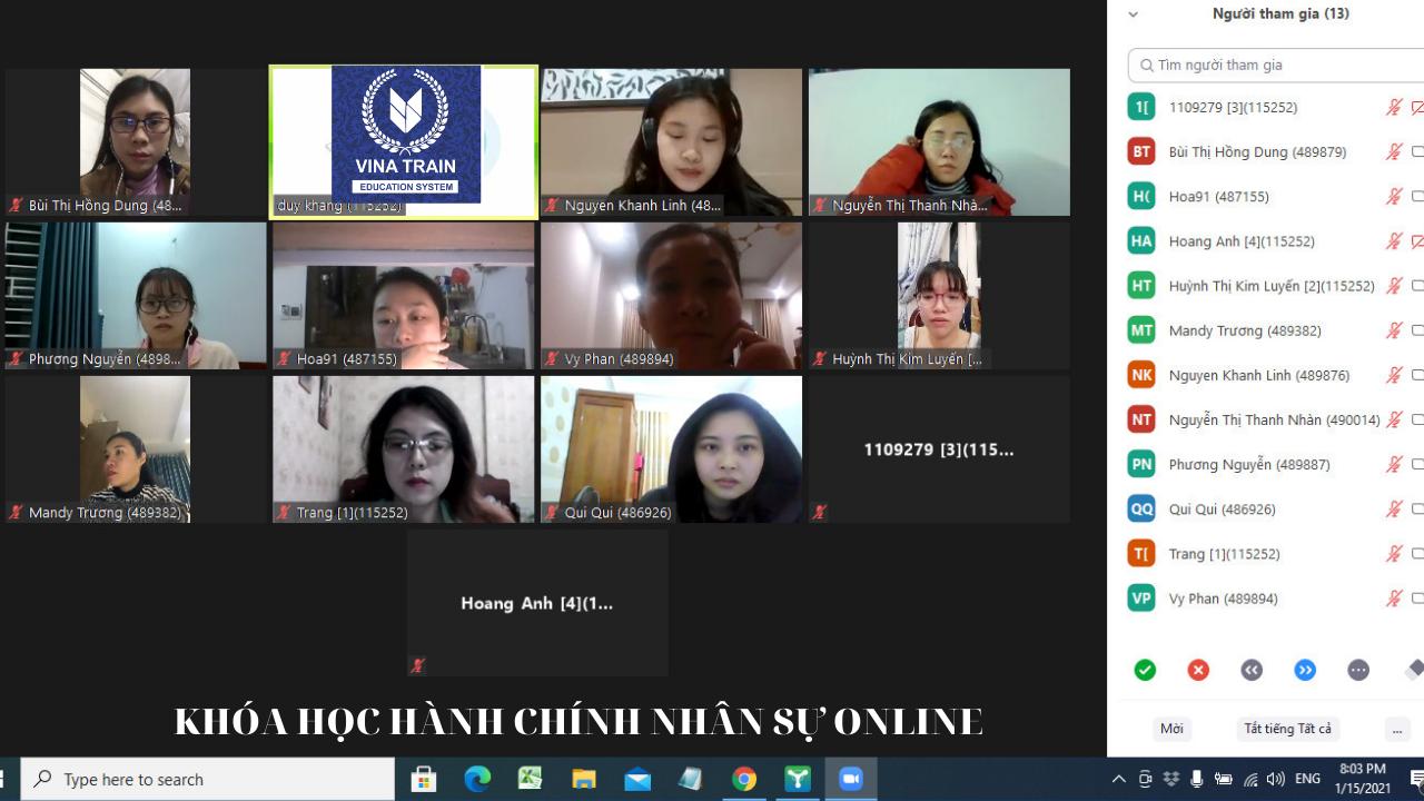 Lớp nhiệp vụ hành chính văn phòng phần C&B được giảng dạy online tại VinaTrain