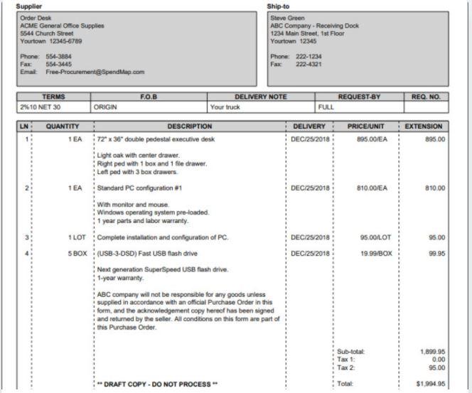Các thông tin cơ bản trên một PO mua hàng