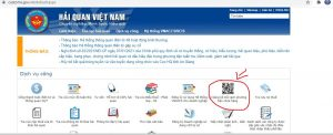 Vào webiste của tổng cục hải quan chọn mục in bảng kê mã vạch phương tiện chứa hàng