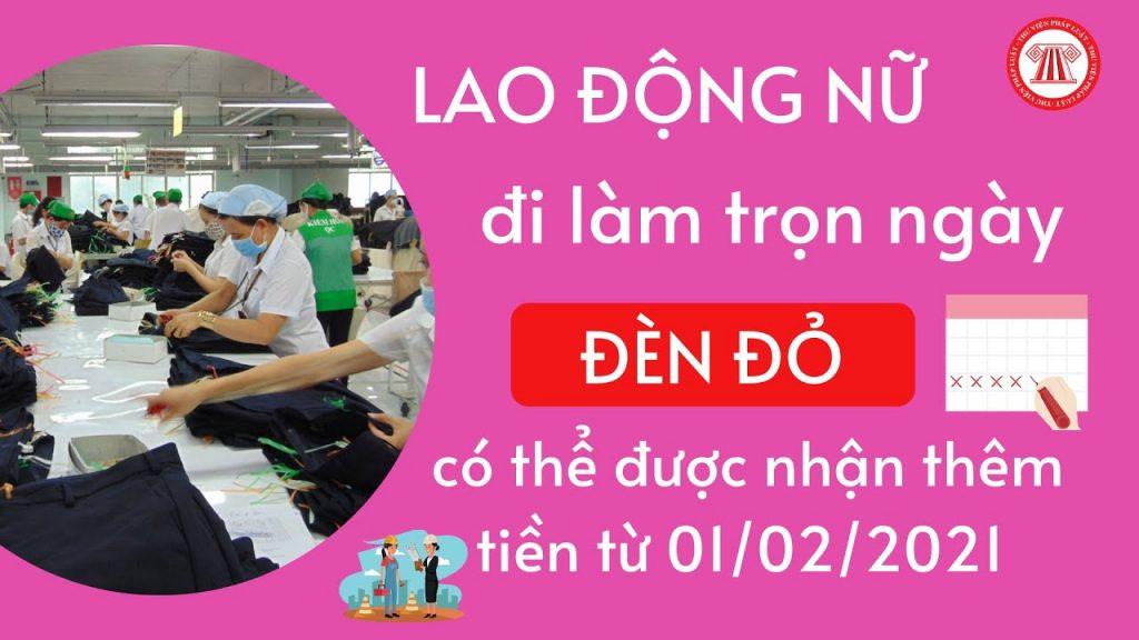 Lao động nữ đi làm ngày đèn đỏ được nhận thêm lương ( Nguồn: Phát Luật Việt Nam)